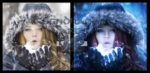 Winter Magic before and after by Pendragon-Arts