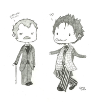 Holmes and Watson Chibis by geothebio