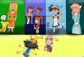 Ash's many crossdressings by musiclovereevee