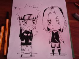 Chibi Naruto and Sakura by xNamida