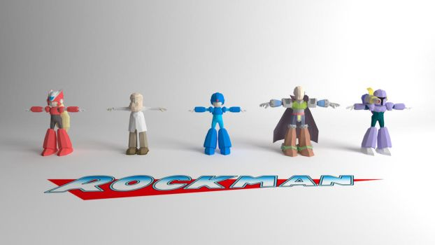 Rockman Low Poly Group T-Pose Wallpaper by DClaymanX