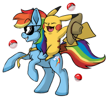 Rainbow Dash in a Tie with a Cowboy Pikachu by Yo-Angie