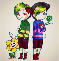 Undertale- Lil Jackaboy and Lil Antisepticeye by karinchan97