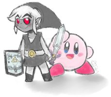 Dark Toon Link and Kirby by Celebi9