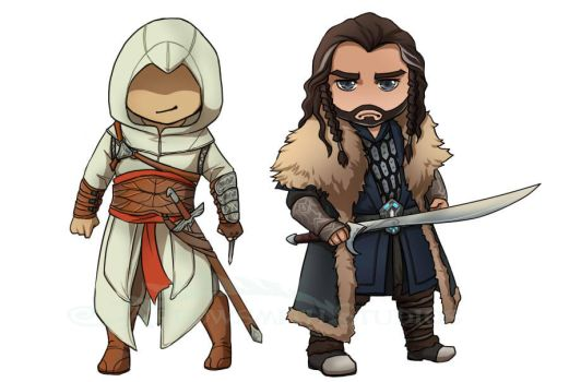 Altair and Thorin Stickers by ladyarrowsmith