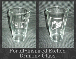 Portal-Inspired Etched Drinking Glass by craftysorceress