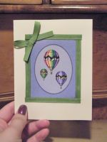 Balloon Card- Green Ribbon by PinkBunnie