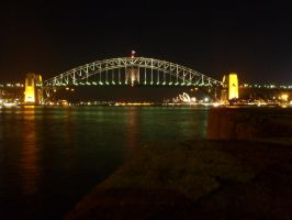 Sydney Harbour Bridge at night by Weatbix
