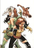Rogue and ShadowCat by MarcelPerez