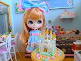 Sadie loves my new marshmallow castle cake by LittlestSweetShop