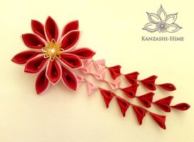 Red and Pink Kanzashi Clip by Kanzashi-Hime