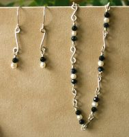 Pearl and Blue Goldstone Set by GraceStudios