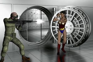 Wonder Woman versus bank robber by Dangerman-1973