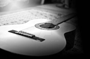 black and white guitar by hanifah94