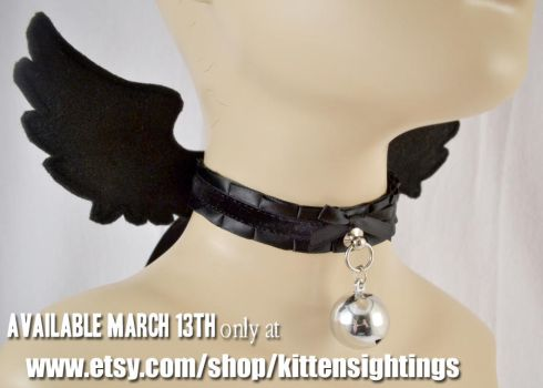 Black Angel Wing Collar by jezebelwitch