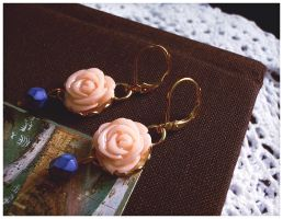 Peach and Indigo Earrings by GingerKellyStudio