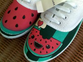 Watermelon painted shoes by karka17
