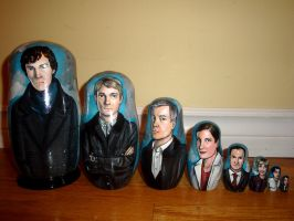 Set of Eight Sherlock Nesting Dolls by bachel60