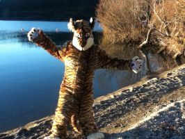 Tiger by a lake by MonstrositiesNZ