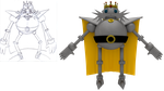 Mecha King - Sketch and 3D Model by SonicRemix