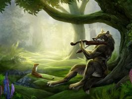 Fantasy She-wolf playing a violin by skythewolfyartistkk