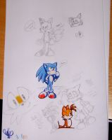 Shocked Tails and Sonic stuff by ine-rocks