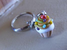 Cupcake Keychain Polymer Clay by iluv2rock99