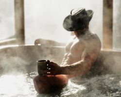 Bathing Cowboy n Coffee by MikeysPhotos