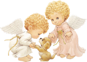 Two Cute Little Angels with Puppy Clipart by joeatta78
