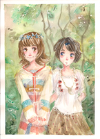 Two girls in the forest by Lahara