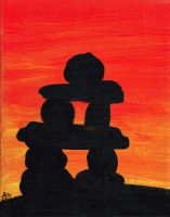 Inuksuk sun set by Silver-the-kid