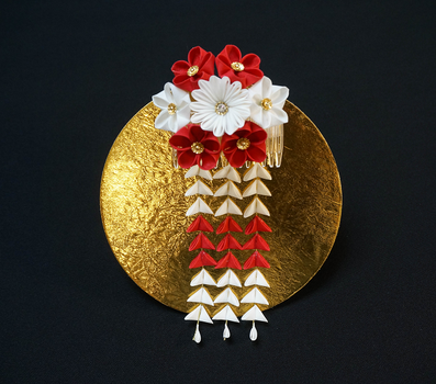 Red and White Blossom Medley Kanzashi 241 by japanesesilkflowers