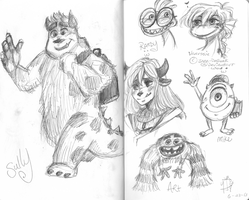 Monsters University Sketches part 1 by princessofDisney27
