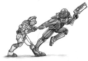 Master Chief vs. Lone Wanderer by Aneru