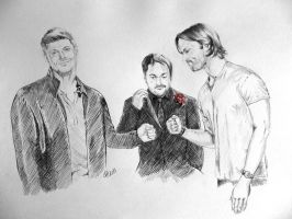 Dean, Sam and Crowley by JH-creator