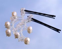 White twiggy hair ornaments O152 by Fleur-de-Irk