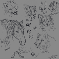 Animal sketchies by AgentWhiteHawk