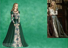 Jane Seymore's Green Flower Dress by EriksAngelOfMusic22