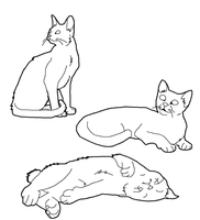 Cat Lineart Set 1 by CrystalKoopa42