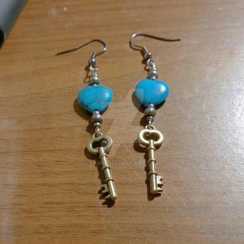 Turquoise heart and key earrings  by Laihi