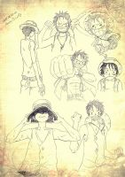 Luffy. Sketches by TaiyoHisakawa