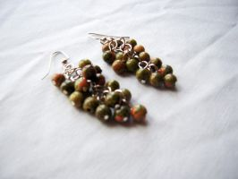 Red and Green Cluster Earrings by SkillfulCreations