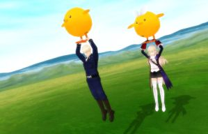 [MMD] Having fun with Gilbird and Rinbird by katnel88