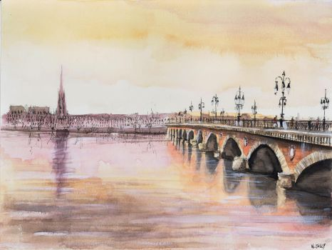 Original for sale - Le Pont de pierre - Watercolor by nicolasjolly