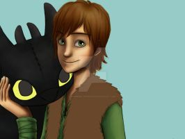 Hiccup and Toothless WIP by Momoko-Kawase