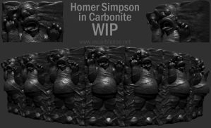 Homer Simpson in Carbonite WIP by otas32