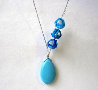 Turquoise Blue Ombre Necklace - Durable Origami Je by pandacub143