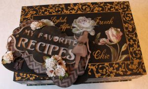 Recipe box decorated with scrapbooking by KittenontheKeys
