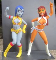 Starfire and Raven in Dirty Pair cosplay by TeenTitans4Evr