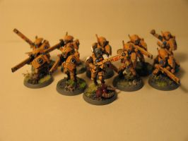 Warhammer 40k Tau fire warrior squad by DayWeAntArt